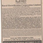 REC Tax Free Bond Issue 2013 To Close Early On 16/09/2013: